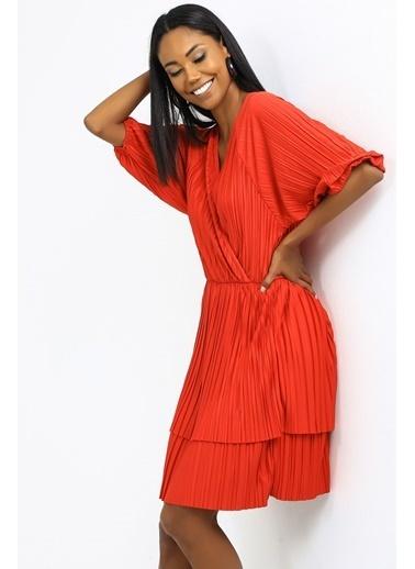 Emjey Kruvaze Yaka Full Piliseli Elbise Kırmızı